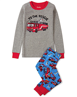 Hatley Slim Line PJs Set with Applique, Fire Trucks - 100% Organic cotton Pyjamas