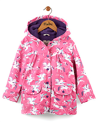 Hatley Winged Unicorns Girls Raincoat - Hooded, lined and PVC-free Coats