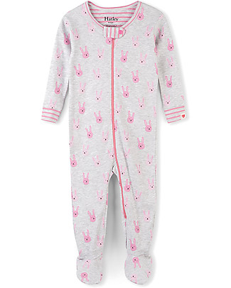 Hatley Zipped Coverall, Funny Bunnies - 100% organic cotton - Easy and quick changing! Rompers