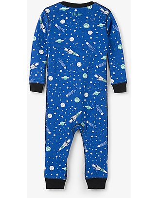 Hatley Zipped Coverall, Outer Space - 100% organic cotton - Easy and quick changing! Rompers