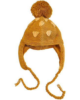 Hats Over Heels Giraffe Winter Hat with Detachable Mask, Beige 6-12 and 12-24 months) - 100% Merino Wool Hats