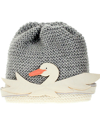 Hats Over Heels Girl Beanie with Detachable Swan, Grey (6-12 months and 1-2 years) - Fleece-lined Merino Wool Hats