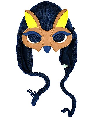 Hats Over Heels Kangaroo Winter Hat with Detachable Mask, Navy (0-6, 6-12 and 12-24 months) - 100% Merino Wool null