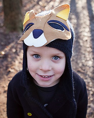 Hats Over Heels Kangaroo Winter Hat with Detachable Mask, Navy (2-5 years) - 100% Merino Wool Hats