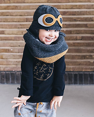 Hats Over Heels Space Goggle Hat, Charcoal (1-2 years) - Fleece-lined merino wool Hats
