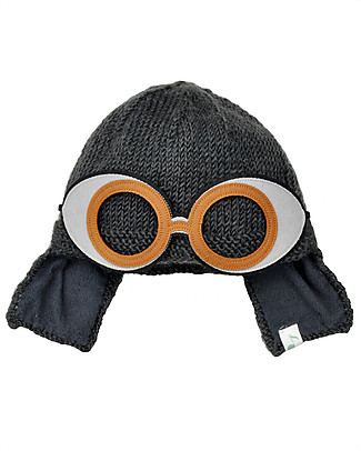Hats Over Heels Space Goggle Winter Hat, Charcoal (2-5 and 5-8 years) - Fleece-lined merino wool Hats