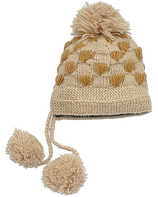 Hats Over Heels Spot Giraffe Winter Hat, Caramel (2-5 and 5-8 years) -100% Merino Wool Hats