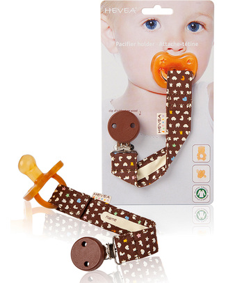 Hevea Hevea Organic Cotton Pacifier/Teether Holder - Brown Dummies & Soothers