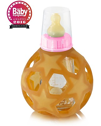 Hevea Pink 2 in 1 Baby Bottle and Toy Star Ball - 150 ml Glass Bottle + Natural Rubber Ball - Safe, nontoxic, ideal for little hands! Glass Baby Bottles