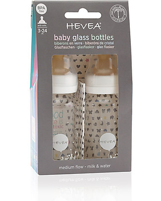Hevea Set di 2 Baby Glass Bottles - 150 ml - with 3-24m Medium Flow Teat Glass Baby Bottles