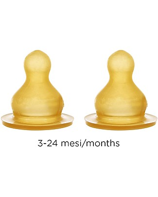 Hevea Set of 2 Teats - Medium - 3-24 months Glass Baby Bottles