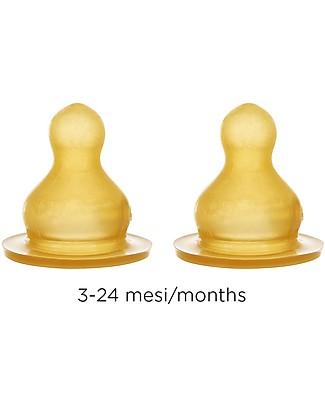 Hevea Set of 2 Teats - Medium - 3-24 months Glass Baby Bottles