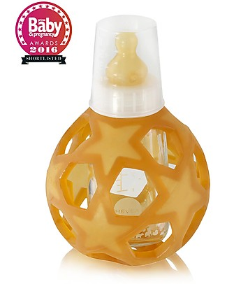 Hevea White 2 in 1 Baby Bottle and Toy Star Ball - 150 ml Glass Bottle + Natural Rubber Ball - Safe, nontoxic, ideal for little hands! Glass Baby Bottles
