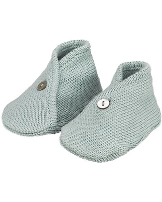 Huggee Baby knitted Booties, Heather Blue - 100% Organic Cotton Shoes