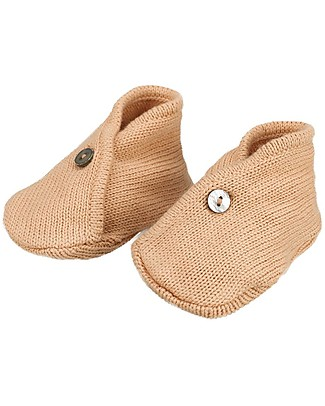 Huggee Baby Knitted Booties, Peach Nougat - 100% Organic Cotton Shoes
