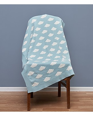 Huggee Big Clouds Knitted Blanket for Babies, 100% Organic Cotton - 110x75 cm Blankets