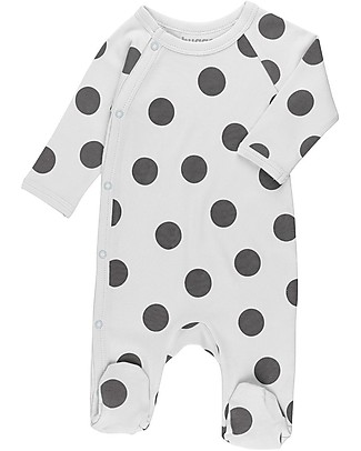 Huggee Footed Babygrow with Raglan Sleeve, Maxi Polka Dots - 100% Organic Cotton Babygrows