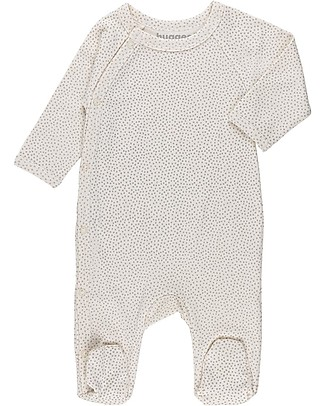Huggee Footed Babygrow with Raglan Sleeve, Mini Polka Dots - 100% Organic Cotton Babygrows