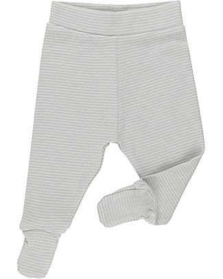 Huggee Footed Trousers, Natural and Blue Stripes - 100% Organic Cotton Trousers