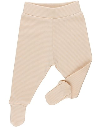 Huggee Footed Trousers, Natural and Nude Stripes - 100% Organic Cotton Trousers