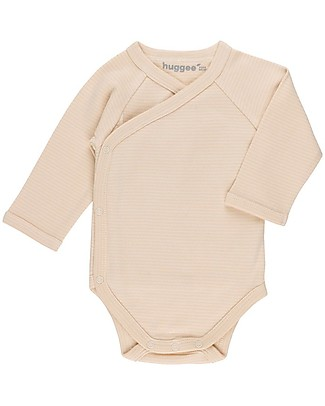 Huggee Kimono Body with Snaps at the Front, Natural and Nude Stripes - 100% Cotone bio Long Sleeves Bodies
