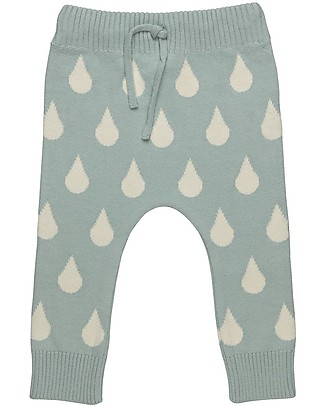 Huggee Knitted Trousers with Drawstring, Big Drops  - 100% Organic Cotton Trousers