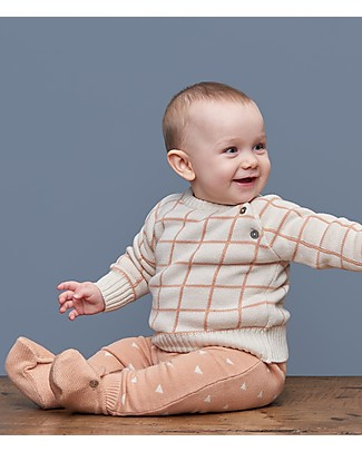 Huggee Knitted Trousers with Drawstring, Triangles - 100% Organic Cotton Trousers