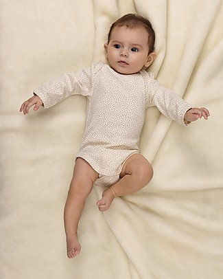 Huggee Lap Shoulder Body with Long Sleeve, Mini Polka Dots - 100% Organic Cotton Long Sleeves Bodies