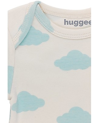 Huggee Lap Shoulder Body with Long Sleeves, Blue Clouds - 100% Organic Cotton Long Sleeves Bodies