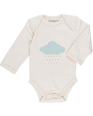 Huggee Lap Shoulder Body with Long Sleeves, One Cloud - 100% Organic Cotton Long Sleeves Bodies