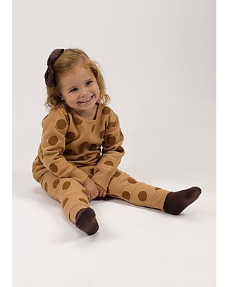 Huggee Long Sleeved Playsuit, Brown with Maxi Polka Dots - 100% Organic Cotton null