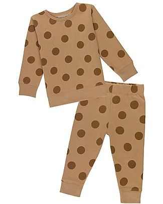 Huggee Long Sleeved Playsuit, Brown with Maxi Polka Dots - 100% Organic Cotton Pyjamas
