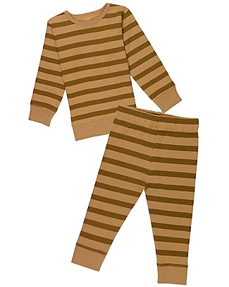 Huggee Long Sleeved Playsuit, Brown with Stripes - 100% Organic Cotton Pyjamas