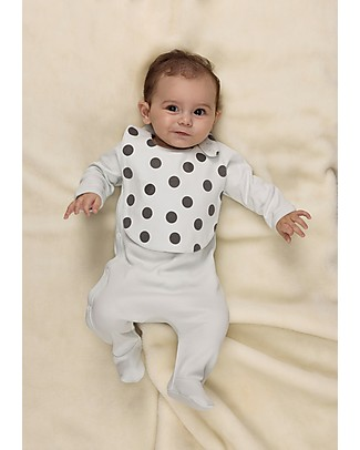 Huggee Polka Dots Bib with Snap Adjustable Button, 100% Organic Cotton Snap Bibs