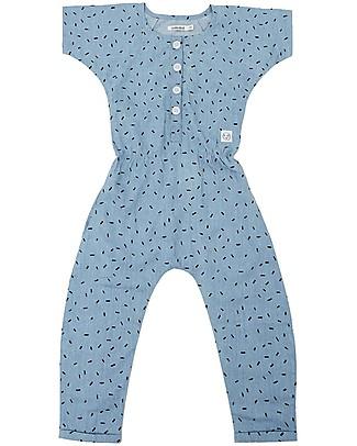Indikidual Edamame, Scatter Rice Print Denim Jumpsuit - 100% cotton Rompers