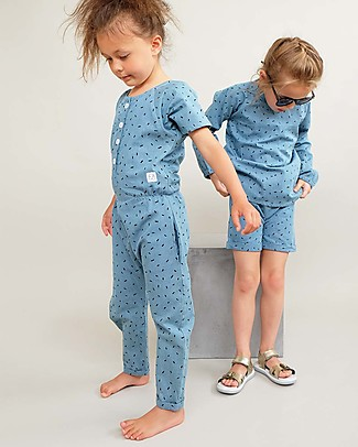 Indikidual Edamame, Scatter Rice Print Denim Jumpsuit - 100% cotton Rompers