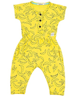 Indikidual Fugu, Banan Print Jumpsuit, Yellow - 100% organic cotton Rompers
