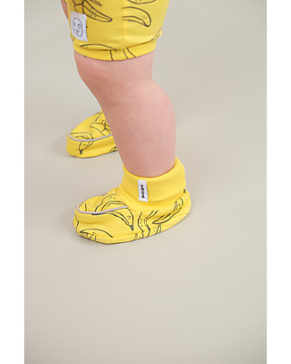 Indikidual Tempura, Banana Print Baby Booties, Yellow – 100% organic cotton Slippers