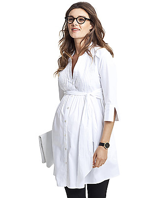 Isabella Oliver Libby Maternity Tunic - Pure White Shirts And Blouses