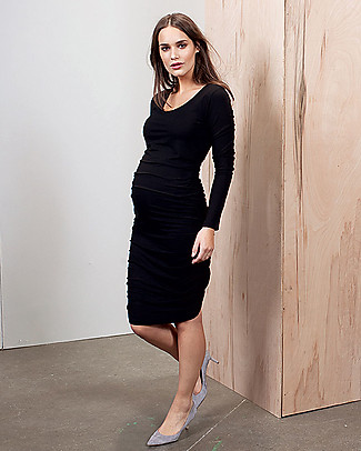 Isabella Oliver Maternity Midi Dress - Caviar Black -THE Maternity LBD! null