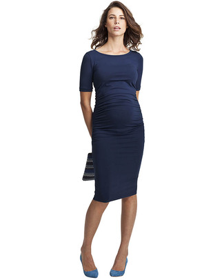 Isabella Oliver T-Shirt Maternity Dress - Ruche Detail - Rich Navy! Dresses
