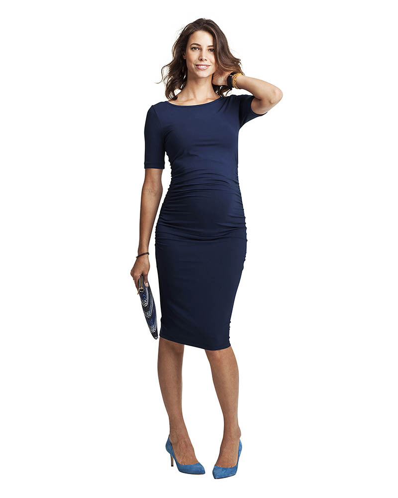37b402c7207e8 Isabella Oliver T-Shirt Maternity Dress - Ruche Detail - Rich Navy! Dresses
