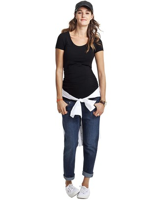 Isabella Oliver The Maternity Cap Scoop Top - Ruched Detail - Black! T-Shirts And Vests