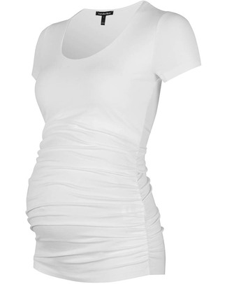 Isabella Oliver The Maternity Cap Scoop Top - Ruched Detail - White! T-Shirts And Vests
