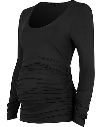 Isabella Oliver The Maternity Scoop Top - Caviar Black Evening Tops