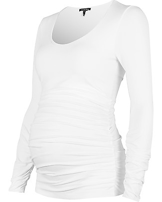 Isabella Oliver The Maternity Scoop Top - Pure White Evening Tops