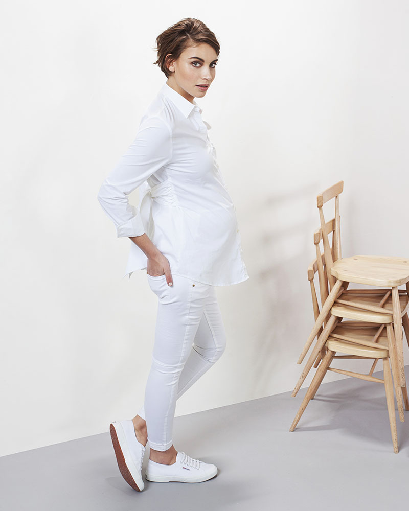 040c372141 Isabella Oliver Tie Front Maternity Blouse - Self-Tie Belt - White! Shirts  And