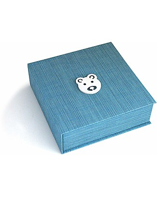 Italian Creative Book Memory Box and Photo Album, Light Blue with Bear - 19x19 cm Baby's First Albums