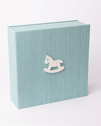 Italian Creative Book Memory Box and Photo Album, Light Blue with Horse - 19x19 cm Baby's First Albums