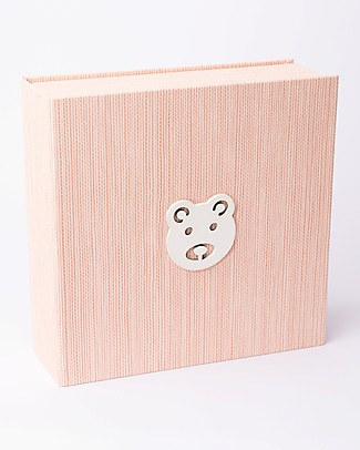 Italian Creative Book Memory Box and Photo Album, Pink with Bear - 19x19 cm Baby's First Albums